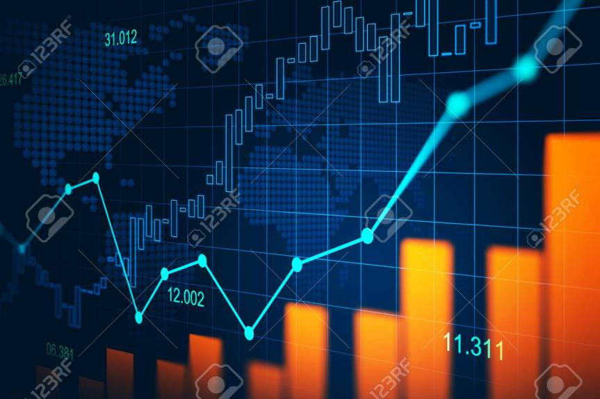Stock market or forex trading graph in graphic concept